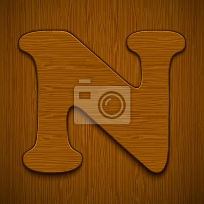 "Buchstabe ""N"". Holz-Alphabet. Vektor-Illustration."