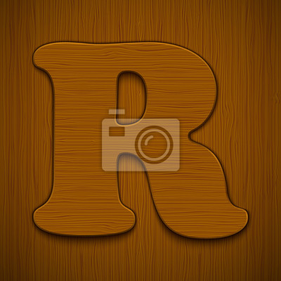 "Buchstabe ""R"". Holz-Alphabet. Vektor-Illustration."