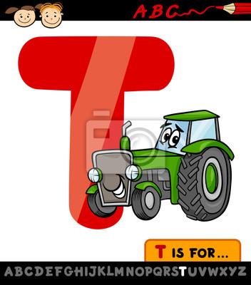 Buchstabe T Mit Traktor Cartoon Abbildung Fototapete Fototapeten
