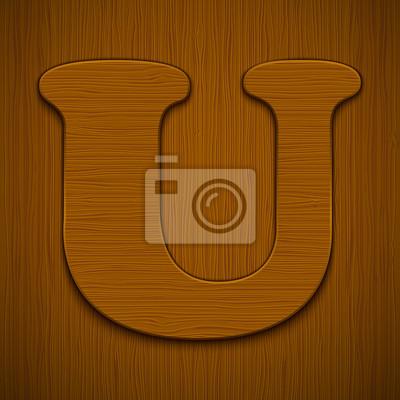 """Buchstabe """"U"""". Holz-Alphabet. Vektor-Illustration."""