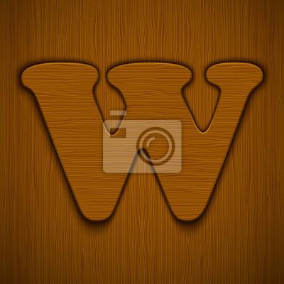 """Buchstabe """"W"""". Holz-Alphabet. Vektor-Illustration."""