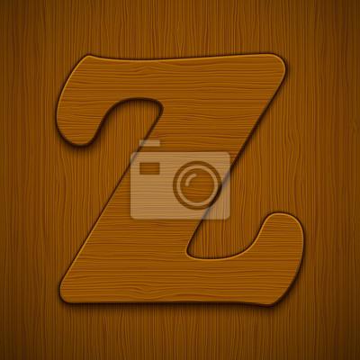 """Buchstabe """"Z"""". Holz-Alphabet. Vektor-Illustration."""