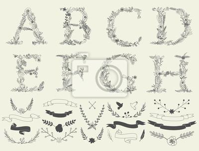 Buchstaben A, B, C, D, E, F, G, H. Blütenelemente des Alphabets