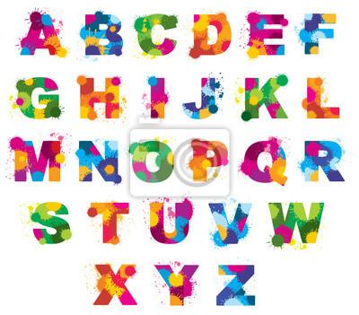 Buchstaben alphabet gemalt von farbe spritzt vektor-schriftart ...