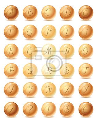 Buchstaben auf Perlen