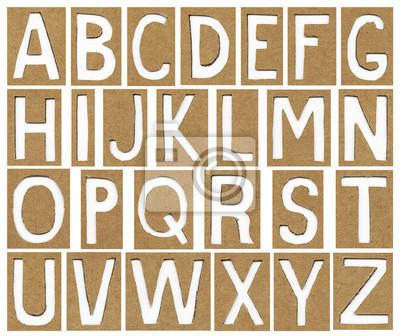 Buchstaben des Alphabets aus Kartonpapier, Schule Hintergrund