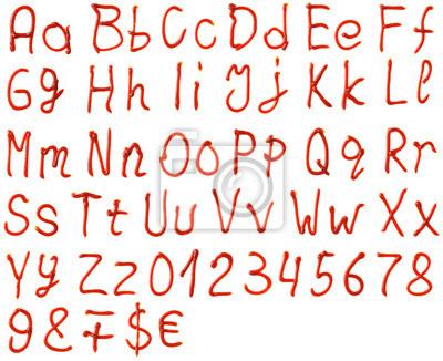Buchstaben des Alphabets von Ketchup gemacht