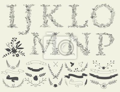 Buchstaben I, G, K, L, M, N, O, P. Blumenelemente des Alphabets