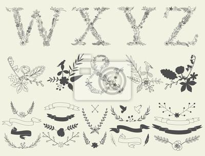 Buchstaben W, X, Y, Z und Et-Zeichen. Floral Elemente des Alphabets