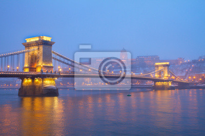 Fototapete Budapest landmarks at night, Hungary
