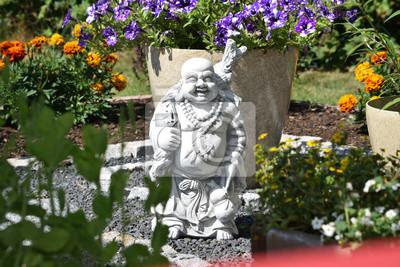 Fototapete Buddha Im Garten Aus Steinguss