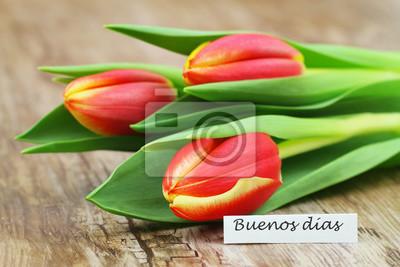 Buenos Dias Guten Morgen In Spanisch Karte Mit Drei Roten