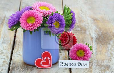 Buenos Dias Guten Morgen In Spanisch Mit Buntem Daisy