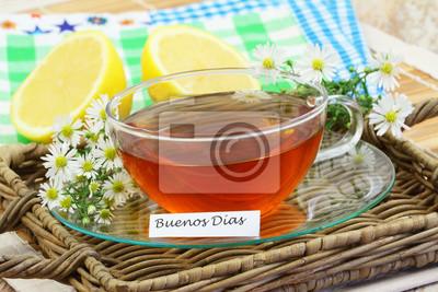 Buenos Dias Guten Morgen In Spanisch Mit Tasse Kamillentee