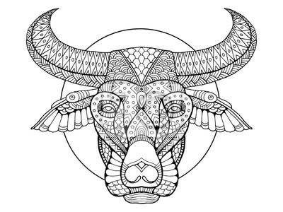 Buffalo Kopf Färbung Buch Vektor-Illustration