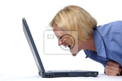 Buisinesswoman schreiend auf ihrem Schoß top
