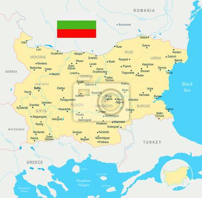 Karte Bulgarien.Fototapete Bulgarien Karte Ausfuhrliche Vektor Illustration