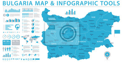 Karte Bulgarien.Fototapete Bulgarien Karte Informations Grafische Vektor Illustration