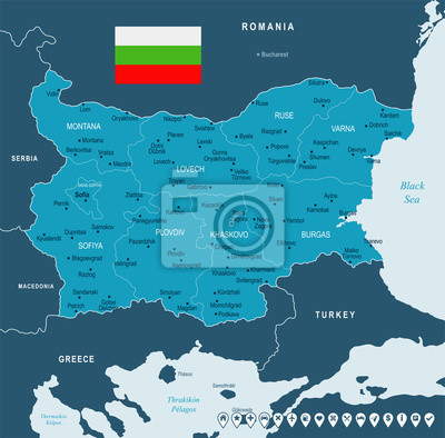 Karte Bulgarien.Fototapete Bulgarien Karte Und Flagge Detaillierte Vektor Illustration