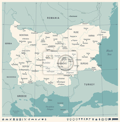 Karte Bulgarien.Fototapete Bulgarien Karte Weinlese Ausfuhrliche Vektor Illustration