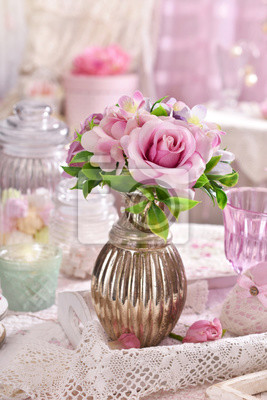 Bunch Of Pink Flowers In Vase On The Table In Shabby Chic Style