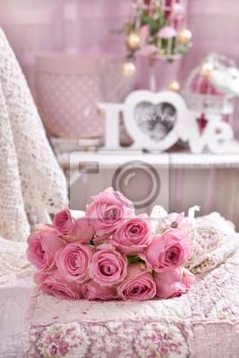 Bunch Of Pink Roses Lying On The Bed Fototapete Fototapeten Schn
