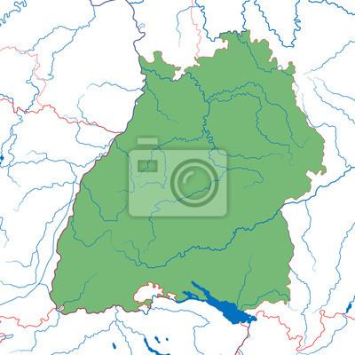 Bundesland Baden Wurttemberg Landkarte Fototapete Fototapeten