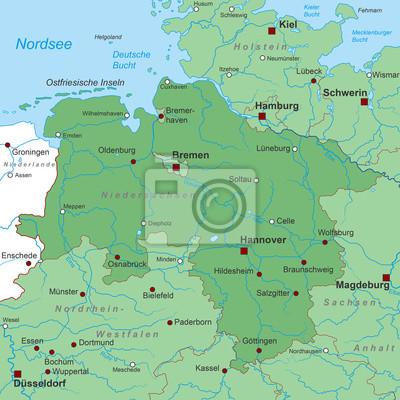Bundesland Niedersachsen Landkarte In Grun Fototapete