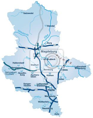 Karte Sachsen Anhalt.Fototapete Bundesland Sachsen Anhalt Mit Autobahnen