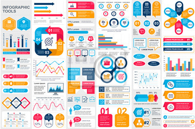 Fototapete Bundle infographic elements data visualization vector design template. Can be used for steps, business processes, workflow, diagram, flowchart concept, timeline, marketing icons, info graphics.