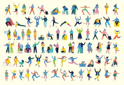 Fototapete Bundle of cartoon men and women performing outdoor activities on city street. Flat colorful vector illustration people walking,standing, talking, running, jumping, sitting, dancing and doctors