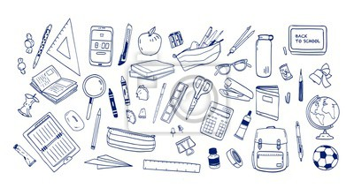 Fototapete Bundle of school supplies or stationery hand drawn with contour lines on white background. Set of drawings of accessories for lessons, items for education. Monochrome realistic vector illustration.