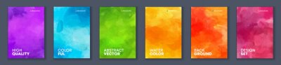 Fototapete Bundle set of bright vector colorful watercolor background for poster or brochure cover design