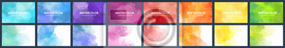 Fototapete Bundle set of vector colorful watercolor backgrounds for business card or flyer template