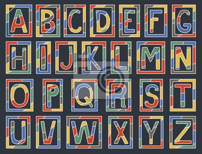 Bunte Alphabet Buchstaben mit Rahmen auf dunklem Hintergrund