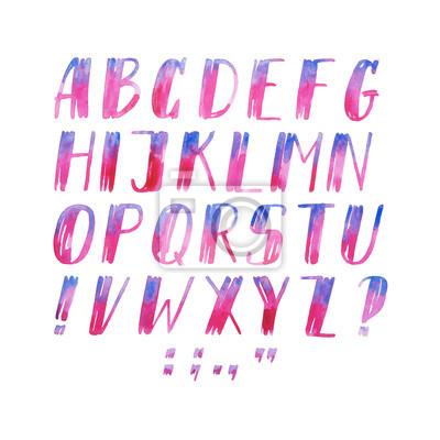 Bunte Aquarell Aquarell Schriftart handschriftliche Hand zeichnen abc Alphabet Buchstaben