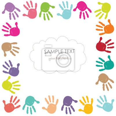 Bunte Baby Handabdruck Kinder Karte Fototapete Fototapeten Sohn
