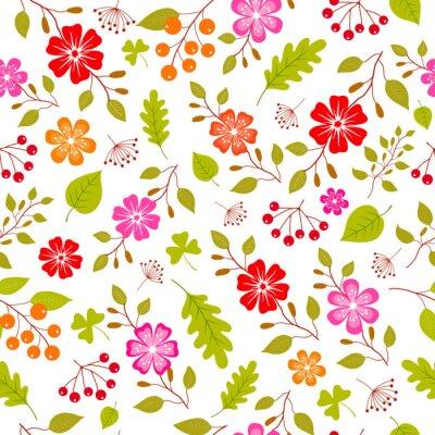Fototapete Bunte Blumen nahtlose Muster