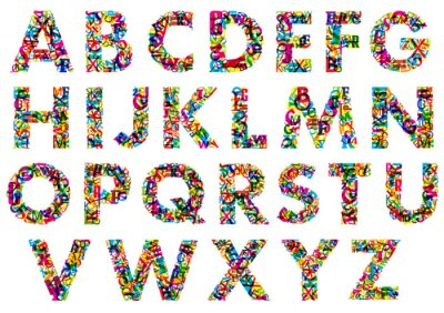 Fototapete Bunte Buchstaben des Alphabets in Großbuchstaben