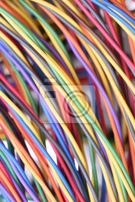 Bunte elektrische draht in telekommunikation internet-kabel-netzwerk ...