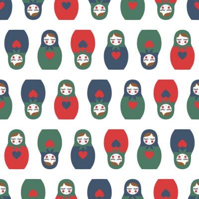 Fototapete Bunte geschachtelte Puppe nahtlose Muster. Nette hölzerne russische Puppe - Matrioshka. Geschachtelte Puppe Matrioshka Illustration isoliert auf weißem Hintergrund.