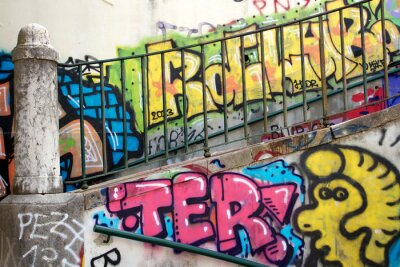 Fototapete bunte Graffiti an einer Wand