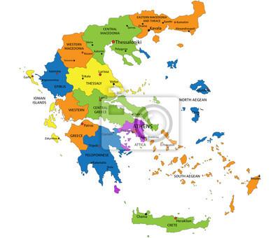 Thessaloniki Karte.Fototapete Bunte Griechenland Politische Karte Mit Deutlich Beschriftet