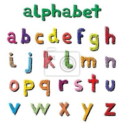 Bunte Hand schreiben Alphabet-Vektor-