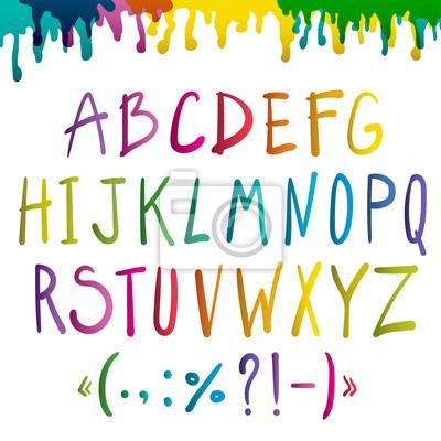 Bunte handschriftliche Alphabet auf weißem Hintergrund. Vektor