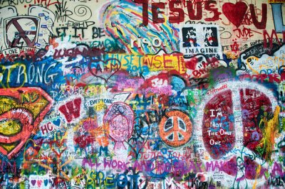 Fototapete Bunte John Lennon Mauer in Prag