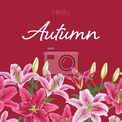 Bunte Lilien Blume Auf Rotem Hintergrund Vector Reihe Von Bluhenden
