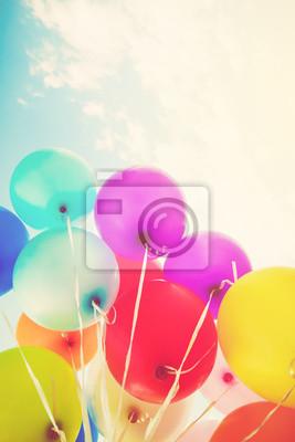 Bunte Luftballons Mit Einem Retro Instagram Filtereffekt Konzept