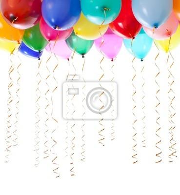 Fototapete bunte Luftballons mit Helium und mit goldenen Luftschlangen gefüllt