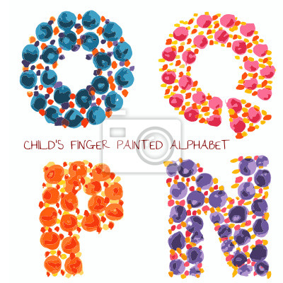 Bunte lustige farbe alphabet o, q, p, n buchstaben fototapete ...